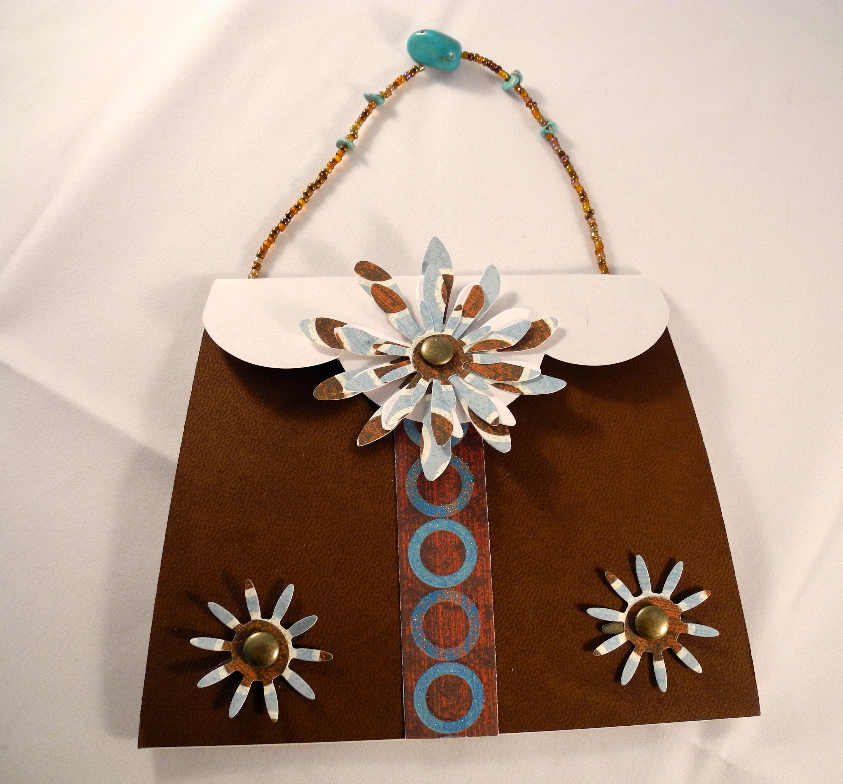 Blue Brown Handbag Card